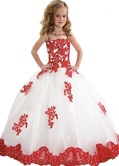 BFB Big Girls' Ball Gown Flower Appliques Wedding Pageant Dresses (8, White Red). Fabric:organza, taffeta, beaded crystal, more beautiful with a petticoat. For Special Occasions: Evening Party, Birthday Party, Dancing, Graduation, Wedding. Accept the custom made color and size. IF there is no color and size you like, please email to us in advance!. Item color displayed in photos maybe showing slightly different on your computer. Hope your understanding!. If you need the dress urgently...