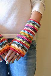 Ravelry: Colorful Stripey Fingerless Mitts pattern by Elizabeth Trantham