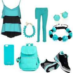 Turquoise Style by mblover100 on Polyvore featuring polyvore fashion style FISICO Cristina Ferrari Versace Kipling Ippolita Towne & Reese Bling Jewelry Kate Spade NIKE
