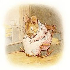 "'The Tale of Mrs. Tittlemouse', 1910 -- by Beatrix Potter. ""But she was too tired to do any more. First she fell asleep in her chair, and then she went to bed. 'Will it ever be tidy again?' said poor Mrs. Tittlemouse."""