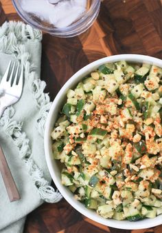 Spicy Cucumber Salad- Girl Cooks World. Good salad to take in a box to uni Salad Recipes Video, Salad Recipes For Dinner, Healthy Salad Recipes, Vegetarian Recipes, Indian Cucumber Salad, Spicy Cucumber Salad, Great Recipes, Whole Food Recipes, Nutritious Meals