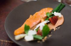 Le Chateaubriand (France) lightly smoked salmon with carrot puree, cauliflower and beets