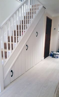 Neat neat neat! Understairs storage solution - Mark Williamson Furniture - bespoke fitted and freestanding furniture Buckinghamshire Home Stairs Design, Home Office Design, Home Interior Design, Closet Under Stairs, Space Under Stairs, Understairs Storage Space, Storage Spaces, Staircase Storage, Stair Storage