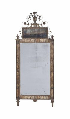 A NORTH ITALIAN NEOCLASSICAL MARBLE-MOUNTED AND GILTWOOD MIRROR, LATE 18TH/EARLY 19TH CENTURY