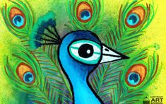 Peacock art lesson by Easy Peasy Art School: Step by step art lesson. Great for teaching students about the colour blue or for use as part of a unit on India or Asia.