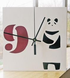 Brighten up your wall or desk space with this hand-printed wood clock. The clock face is printed with a pochoir technique, which uses multiple layers of stencils and paint to create the crisp lines and detailed images. On this one in particular, an upright panda stands on a white background, alongside the marker for nine o'clock.