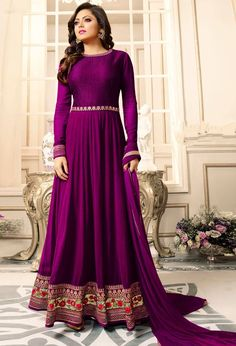 Buy Charming Red Designer Partywear Embroidered Georgette Anarkali Suit at Rs. Get latest Anarkali at Peachmode. Abaya Fashion, India Fashion, Pink Fashion, Anarkali Dress, Anarkali Suits, Abaya Mode, Rosa Style, Classy Gowns, Bollywood Fashion