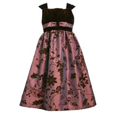 Amazon.com: Size-10 BNJ-1002X BROWN FLOCK FLORAL IRIDESCENT TAFFETA VELVET Special Occasion Flower Girl Holiday Pageant Party Dress,X41002 Bonnie Jean 7-16: Clothing