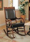For Sale - Rocking Chair Leather Wooden Rocker Vintage Antique  Nailhead Coaster