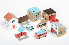 Cardboard towns inspired by Polish suburban life from papierowemiasto.pl - perhaps good for packaging?