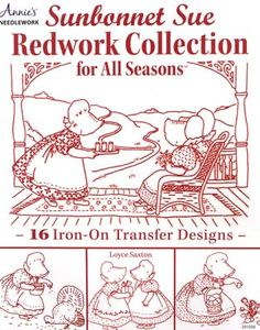 Enter the nostalgic world of Sunbonnet Sue with this wonderful #Redwork collection. Youll delight in Sues world as she takes you back to a time when life was simpler. The 16 #embroidery designs are provided on iron-on transfer sheets for transferring, and are also given for tracing.  Iron-on transfer or trace - you decide your method!  Easy-to-follow instructions are given for 10 projects that will show of your embroidery talent.  The projects include a pillow, #Easter #Towels, #Halloween Folk Embroidery, Embroidery Needles, Hand Embroidery Designs, Embroidery Patterns, Quilt Patterns, Embroidery Supplies, Sewing Patterns, Sunbonnet Sue, Antique Quilts
