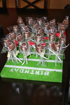 EZRA IS #1- football party. Football cake pops. Painted a styrofoam base to resemble a field.