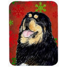Caroline's Treasures Snowflakes Tibetan Mastiff Glass Cutting Board Color: Red/Green