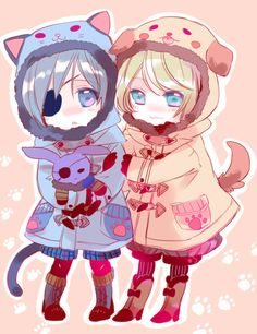 Black Butler - Ciel and Alois as cat and dog