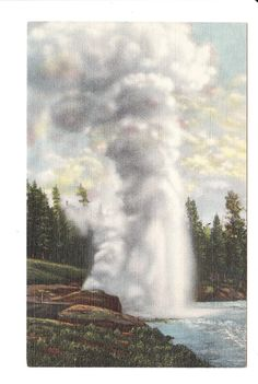 Riverside Geyser Yellowstone Wyoming Vintage Postcard unused by PicturesFromThePast