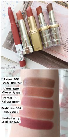 Makeup Swatches, Drugstore Makeup, Makeup Cosmetics, Mac Lipstick Swatches, Makeup Kit, Skin Makeup, Beauty Makeup, Nude Lipstick, Maybelline Lipstick Shades