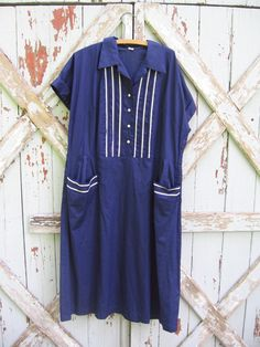 3e10611a19 Vintage 1960s navy blue house dress XXL  vintage  60s  navy  housedress   plus