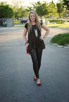 All black outfit with pops of red. Fun and edgy outfit from The Red Closet Diary fashion blog.