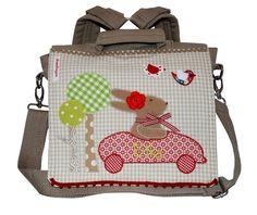 Kindergartenrucksack mit Namen -Rotes Hasenrennen- von wohnzwerg http://de.dawanda.com/product/35515249-Kindergartenrucksack-mit-Namen--Rotes-Hasenrennen-