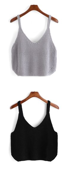 How to live this coming hot days. Must-have in your wardrobe-Grey Spaghetti Strap Knit Cami Top,Click for more detail.