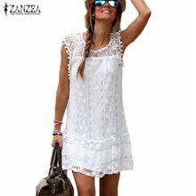 Zanzea Summer Dress 2016 Sexy Women Casual Sleeveless Beach Short Dress Tassel Solid White Mini Lace Dress Vestidos Plus Size(China (Mainland))