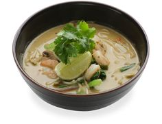 and lemongrass soup topped with stir-fried chicken, prawns or fried ...