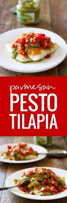 Parmesan Pesto Tilapia - Quick & Easy Tilapia - only 5 ingredients!