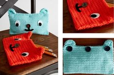 Grinning Bear Crochet Pencil Cases [FREE Crochet Pattern]