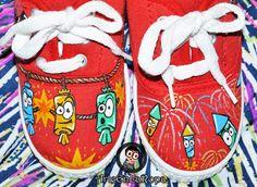 ArteEnLaRopa ....Victorias Custom Y Mucho Mas........: Zapatillas fallas petardos mascletà pintadas a mano como siempre^^ Painted Shoes, Hama Beads, Ronald Mcdonald, Shoe Painting, Sneakers, Diy, Character, Fire Crackers, Dress Girl