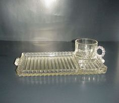 Anchor-Hocking-Candlewick-Snack-Tray-Cup-Beaded-Boopie-Glass-Vintage-Set