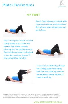 Pilates at home - hip twist for rotary control of the pelvis and hips.