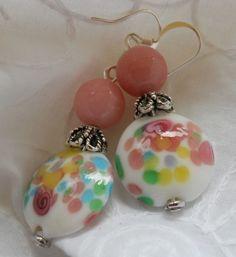 Flower Garden Earrings glass beaded pink Jade OOAK by JoJosgems, $17.00