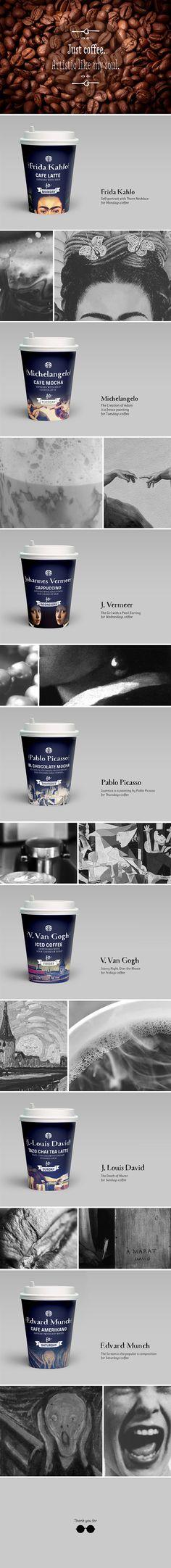 Artistic Coffee Cups by Caga Caga, via Behance