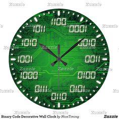 Shop Binary Code Decorative Wall Clock created by NiceTiming. Math Clock, Decor Interior Design, Interior Decorating, Nice Time, Programming Humor, Folding Picnic Table, Secret House, Unusual Clocks, Digital Clocks