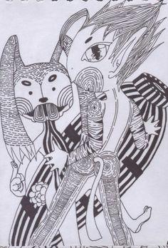 男孩與兔子(針筆)