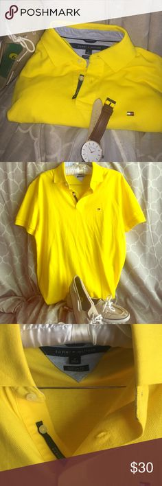 Men's medium custom fit Tommy Hilfiger polo tee Eye catching men's size medium in men's yellow Tommy Hilfiger polo custom fit tee. Men or women can style it up. Only worn once. Great conditions. Perfect for summer ☀️ Tommy Hilfiger Tops Tees - Short Sleeve