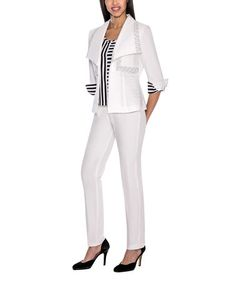 This White Decorative Trim Suit - Plus Too is perfect! #zulilyfinds