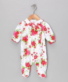 Take a look at this White & Red Sweet Ruffle Footie by Mon Cheri Baby on #zulily today!