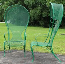 Pair of Hollywood Regency Woodard Hooded Wrought Iron Arm Chairs Patio Garden