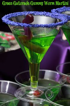 "Green Gatorade Gummy Worm ""Martini"" - perfect Halloween drinks"