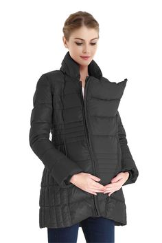 Bella 3-in-1 Down-Filled Mommy & Me Jacket by Spring Maternity in Black