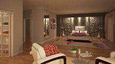 Studio d'interni: progettazione di una camera da letto per una suite dall'atmosfera accogliente e delicata.