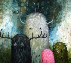 """""""Seekers"""", 20"""" x 18"""", acrylic on wood, 2009. Jeff Soto ©2013"""