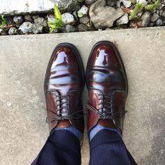 Alden ダークグリーンのクリームで磨いてみたんですが失敗でした 履き皺が緑がかってゴキブリらしさに拍車が #alden #shoes #mensshoes #cordovan #sotd #shoesoftheday #オールデン #紳士靴 #革靴 #コードバン