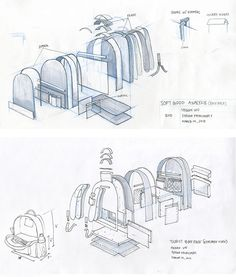 1 week project, backpack re-design to fit the activities and needs of a day tourist. Sketch model made from chipboard, muslin, paper, cardboard