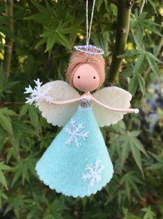 Angel Christmas Tree Topper, Christmas Fairy, Angel Ornaments, Felt Christmas, Christmas Angels, Christmas Crafts, Snow Angels, Mermaid Ornament, Handmade Angels