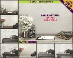 Vintage Wood Table Styling | 8 JPG Styled Stock Scene TC3 | Product Display Mockup Scene Creator | Flowers Camera Books