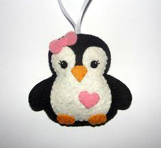 Felt Penguin Ornament, Felt Black Penguin, Felt Ornament, Home Decor, Baby Shower Gifts, Birthday Gift, Housewarming, Felt Animal