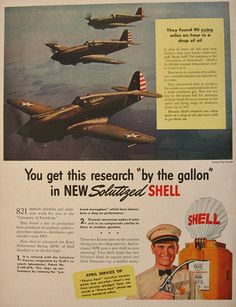 1941 Shell Oil Ad ~ Curtiss P-40 Pursuit