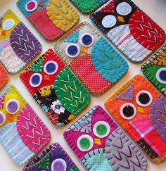 DIY Owl I-Phone cases @A  Personalize the eyes with woven initials or a unique personalized design for branding or gifting!  http://www.thirtysevenwest.com/clothing-labels/